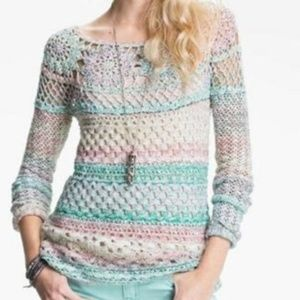 Free People Ring of Roses Crochet Sweater Large